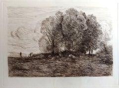Landscape #4 - Original Etching -  1850