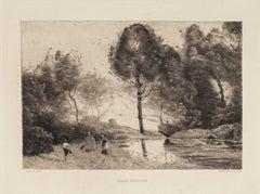 Danse Rustique - Original Etching -  19th Century