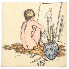 Nude - Original Ink and Watercolor - 20th Century