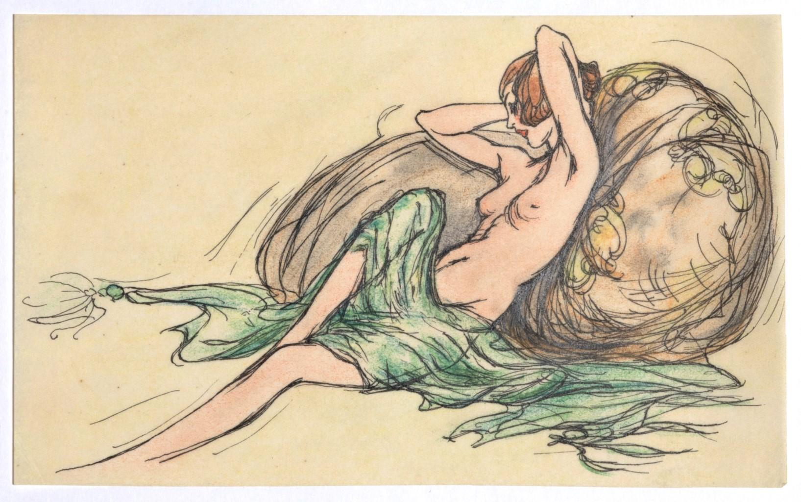 Nude - Original Ink and Watercolor on Paper - 20th Century