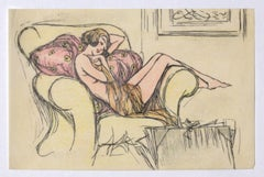 Nude - Original Ink and Pastel on Paper - 20th Century