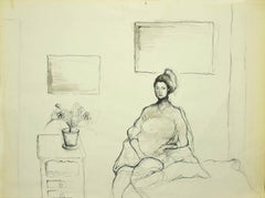 Girl in a Room - Original China Ink Drawing - 20th Century