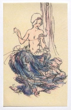 Woman Figure - Original Ink and Pastel on Paper - 20th Century
