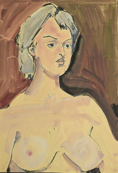 Portrait of a woman - Original Drawing In Tempera and Watercolor - 20th Century