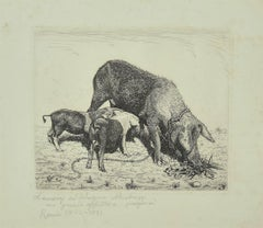 The Sow and her Calves - Original Etching - 1931