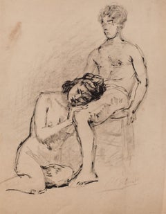 Models - Original Pencil on Paper by French Artist- 20th Century