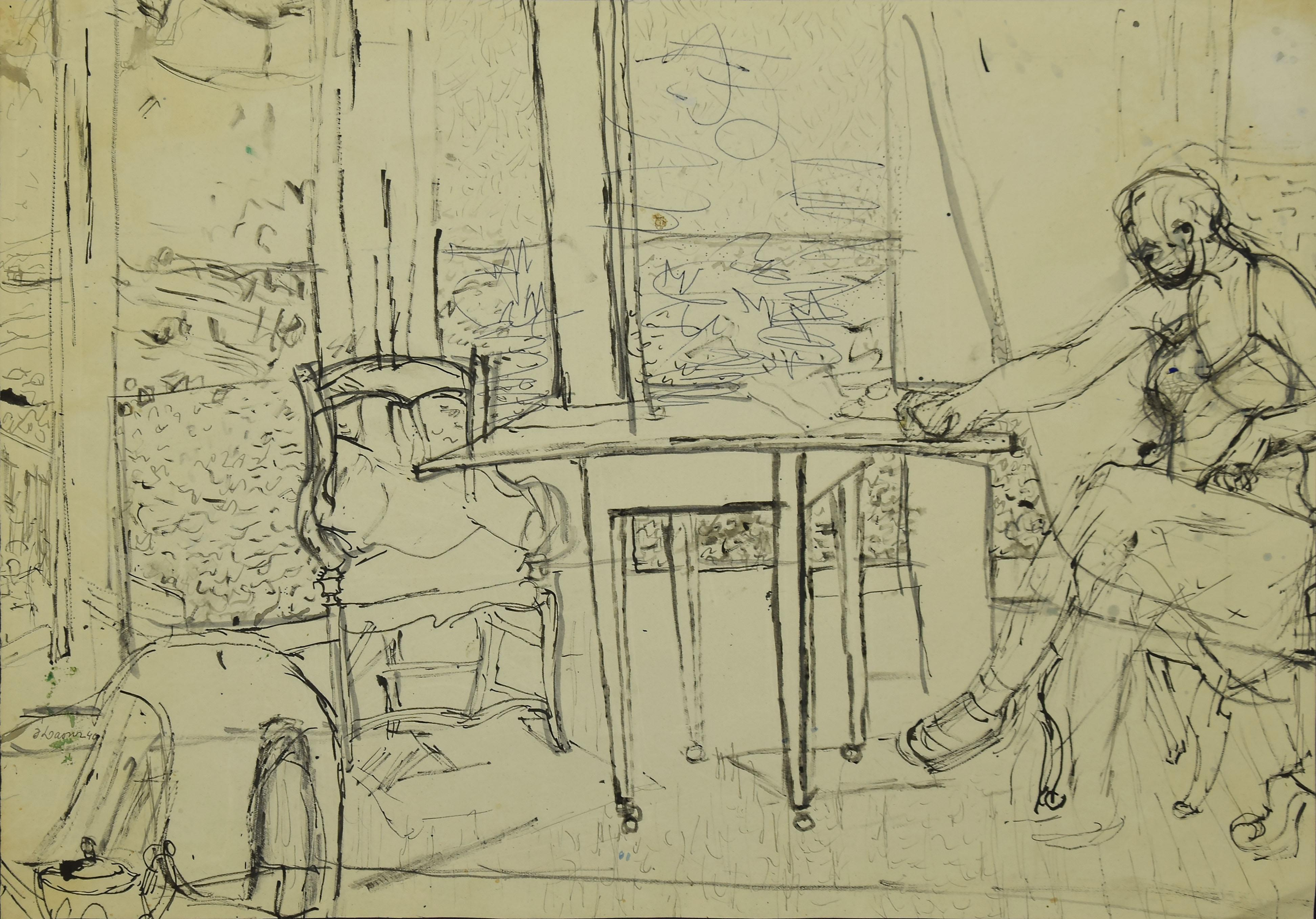 Interior - Original Drawing In Pencil And Ink - 20th Century