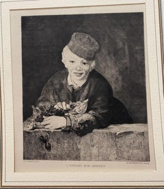 L'Enfant Aux Cerises - Original Etching by H. Berengier after E. Manet - 1900