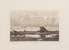 Paysage - Original Etching by C. Pinet after Jules Dupré - 19th Century