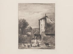 La Gardeuse D'Oies - Etching by Ch. Bourgeat After Constant Troyon - 1900