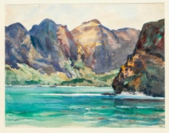 Nuka-Hiva. The Bay of the Virgins - Original Watercolor On Cardboard - 1950s
