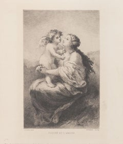 Psyche et L'Amour - Original Etching on Paper Narcisse Virgilio Diaz - 1800