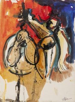 Figures - Original Watercolor Drawing - 20th Century
