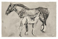 Horses - Original Black Watercolored Ink Drawing - 20th Century