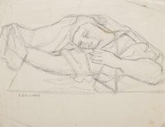 Woman Figure - Original Drawing In Pencil - 20th Century