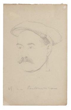 Portrait - Original Drawing In Pencil- 20th Century