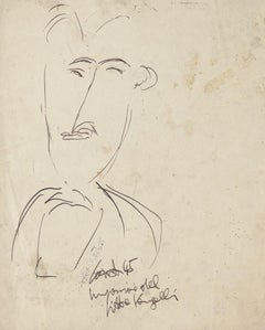 Man Figure - Original Black China Ink Drawing- 20th Century