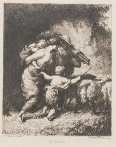 La Fuite - Original Etching by Marcel Roux after J.F. Millet - 19th Century