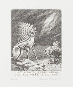 Ex Libris - Gediminui 650 - Vilniaus Viesoji Biblioteka - Etching - 1950s