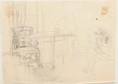 Interior - Original Drawing In Pencil- 1940