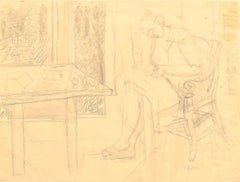 Interior - Original Drawing In Pencil - 1941