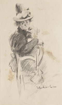 Seated Figure - Original Drawing In Pencil- 20th Century