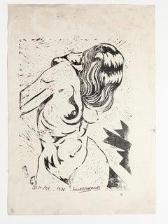 Standing Nude - Original Woodcut On Rigid Paper- 1976
