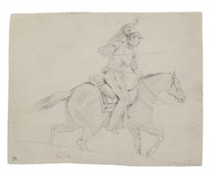 Soldier on Horseback - Original Pencil Drawing - 19th Century