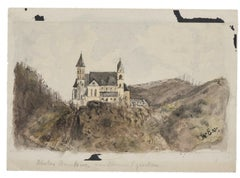 Castle - Original Drawing In Ink and Watercolor by Alfons Walae - 20th Century