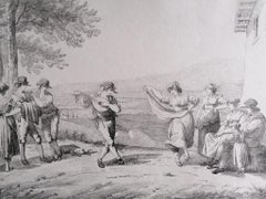Roman Dances and Songs -  Original Charcoal And Pencil Drawing - 19th Century