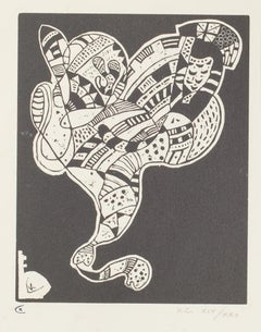 "Surreal Figure - Gravure our ""Origine"" - Woodcut on Paper by V. Kandinskij"
