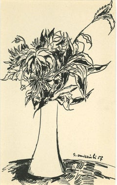 Vase of Flowers - Original Drawing In Pen by Giovanni Omiccioli - 1957