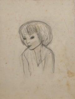Portrait de Jeune Fille -  Drawing In Pencil by Jeanne Daour - 20th Century