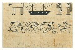 Sea Fantasy - Original Drawing In Pen by Bruno Angoletta - 20th Century