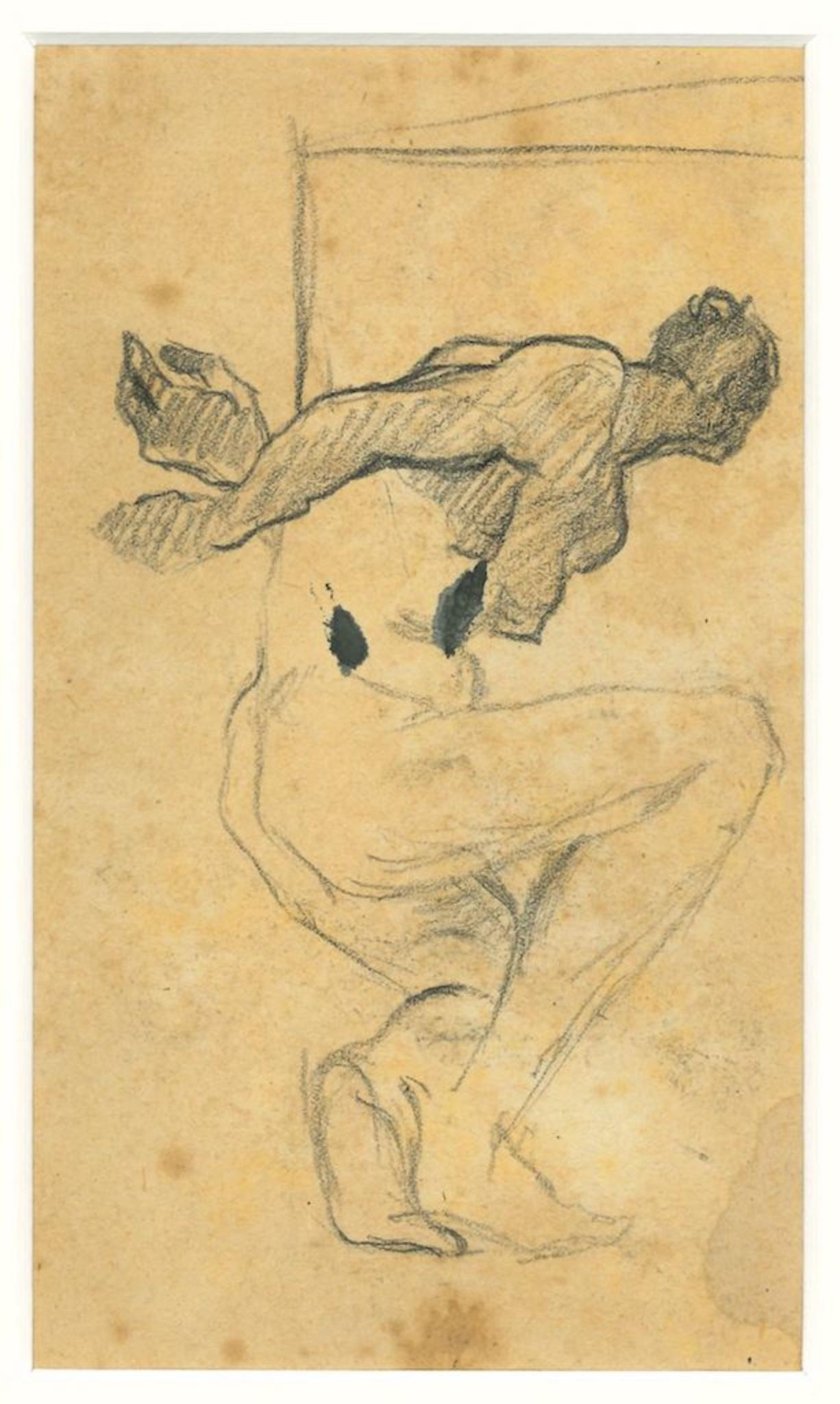 Nude with Crossed Arms - Original Drawing in Pencil by Beppe Guzzi - 1940s