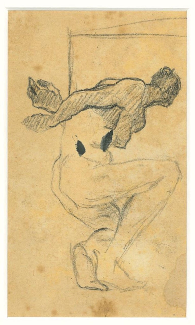 Nude is an original drawing in pencil on paper, realized by the Italian painter Beppe Guzzi.   Included a passepartout: 40 x 30 cm.  Good conditions and aged except for some ripping and foxing along the margins which does not affect the image.  This