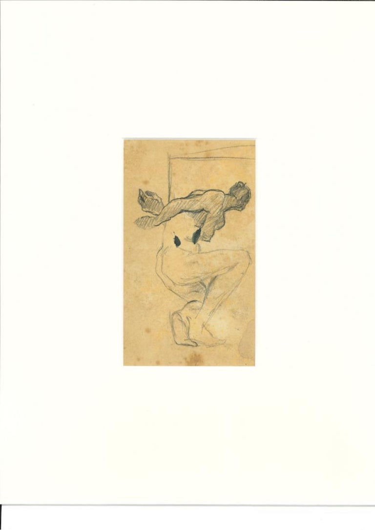 Nude with Crossed Arms - Original Drawing in Pencil by Beppe Guzzi - 1940s For Sale 1