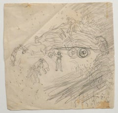 Farmers - Original Drawing In Pencil by Jeanne Daour - Mid-20th Century