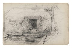 Cottage - Original Pencil Drawing - 19th Century