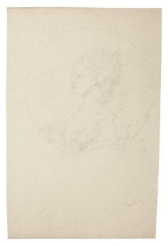 Figure - Original Pencil Drawing - 19th Century