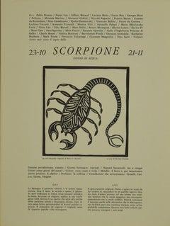 Scorpio - Original Woodcut Print by P. C. Antinori - 1970s