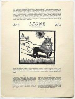 Lion - Original Woodcut Print by P. C. Antinori - 20th Century