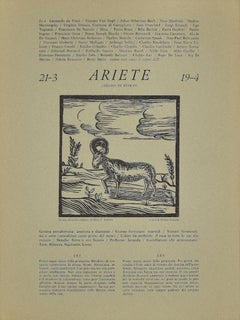 Zodiac Signs - The Ram - Original Woodcut by P. C. Antinori - 1970s