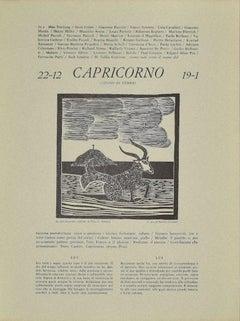 Capricorn - Original Woodcut by P. C. Antinori - 20th Century