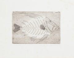 Fishbone- Original Etching by Massimo Baistrocchi - Late 20th Century