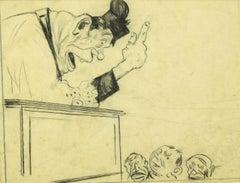 Preach - Original Pen, Ink and Pencil on Paper by G. Galantara - 1908 ca.