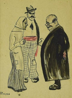 Figures  - Original Mixed Media on Paper by G. Galantara - 1908 ca.