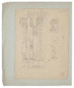 Architecture - Original Pencil Drawing - 19th Century