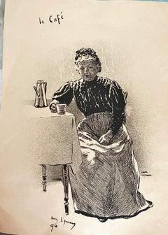 Il Café - Original Lithograph by André Lynen - 1896