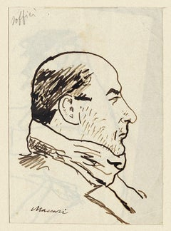 Portrait of Ardengo Soffici - Original Drawing by Mino Maccari - 1938